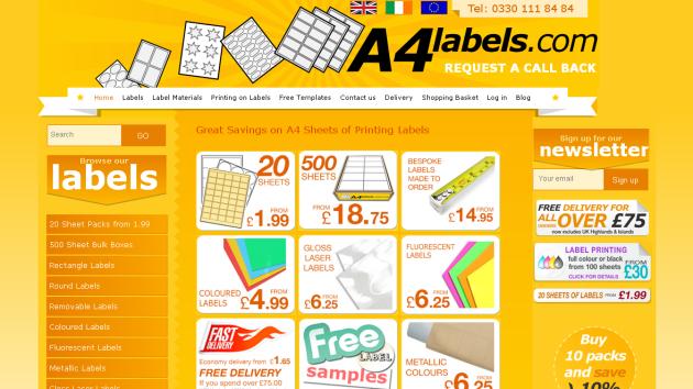 New Merchant – A4 Labels