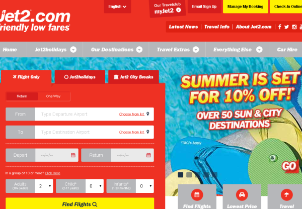 Jet2.com – Save 10% off all flights!!
