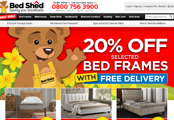 Discounts on frames, mattresses and more from Bed Shed