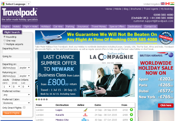 Latest offers from Travel Pack