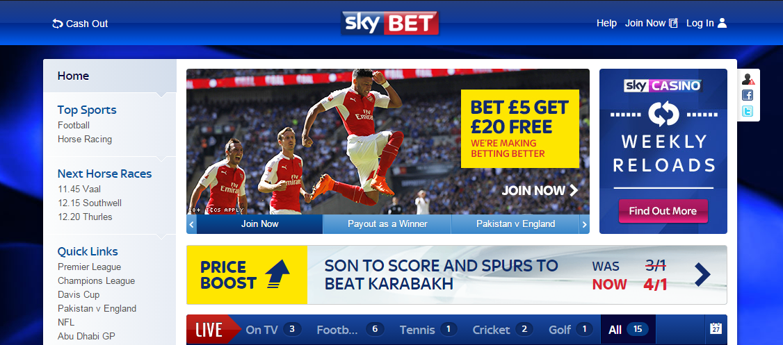 Sky Bet Login In