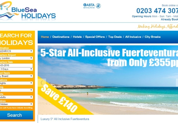 Bluesea Holidays: Increased commission for affiliates