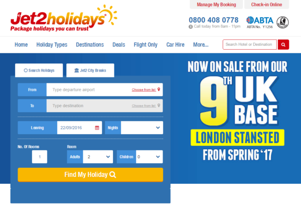 JET2.COM and JET2HOLIDAYS Land at London Stansted Airport