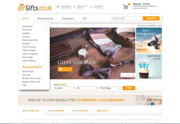 New Advertiser – Gifts.co.uk