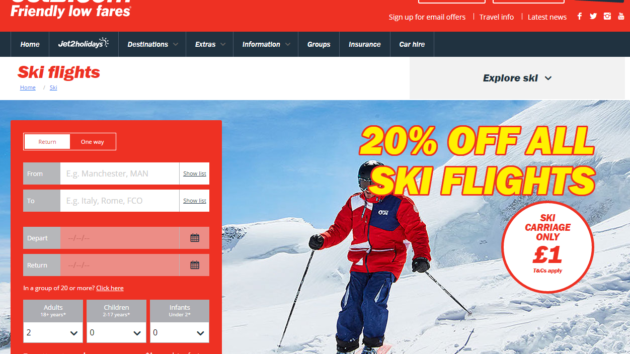 It's take off for Jet2.com's new Ski site