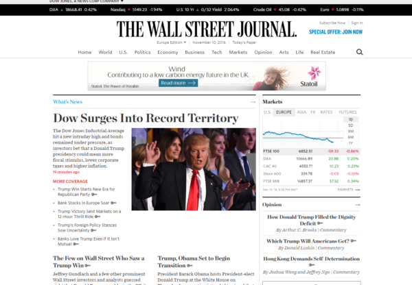 New Advertiser The Wall Street Journal!