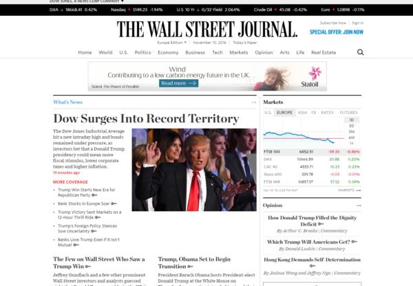 New Advertiser The Wall Street Journal!