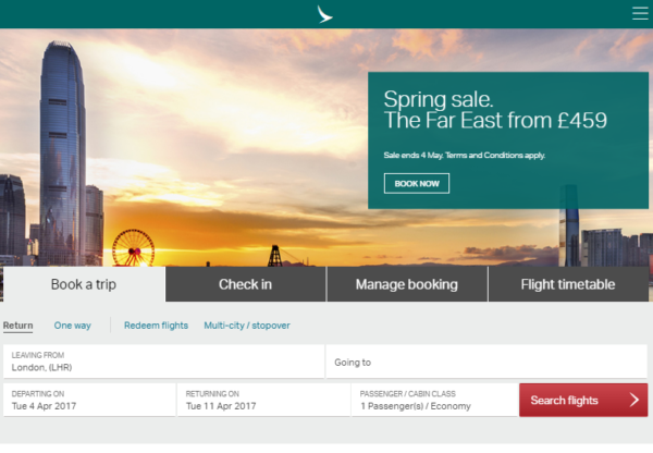 Cathay Pacific: Spring Sale now on!