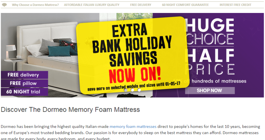 New voucher code from Dormeo plus Bank Holiday sale