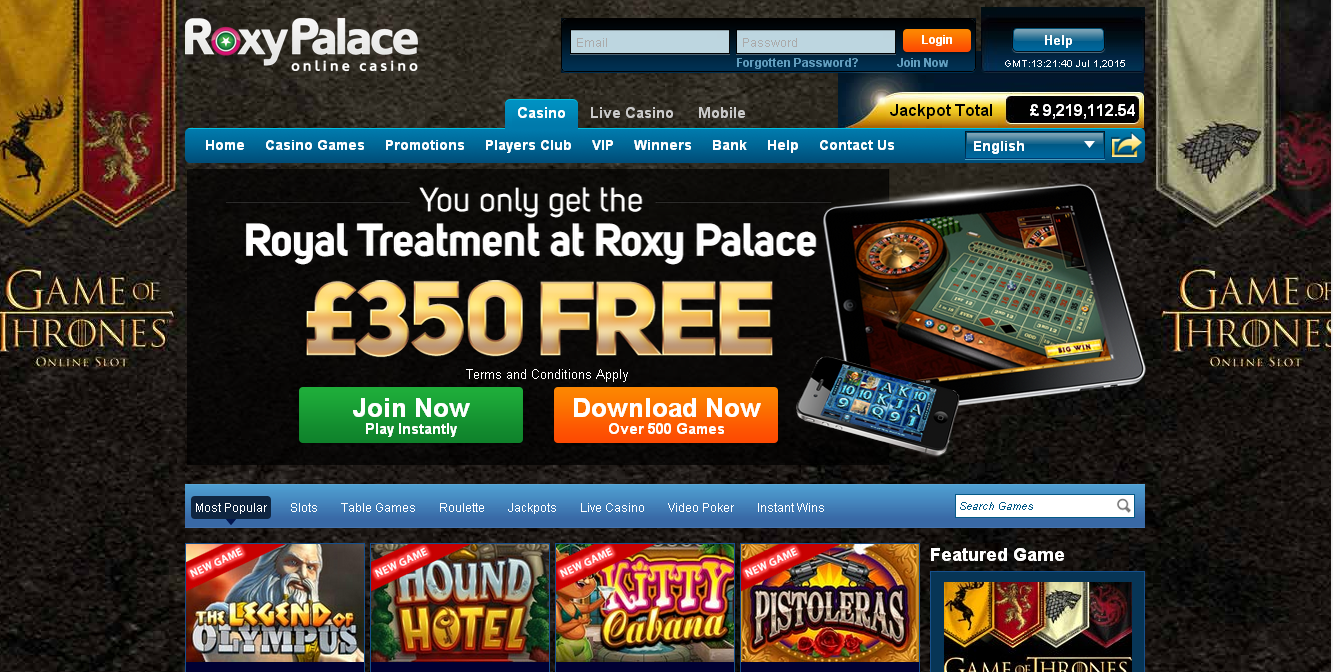Roxy palace casino login